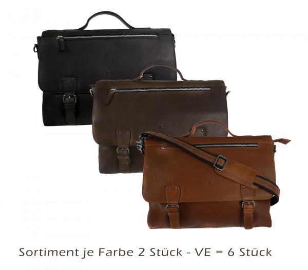Briefcase/Mappe *CASTER* 2-schwarz./ 2-natur /2- braun VE-6 Stück Sortiment