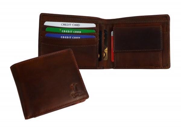 """flache Scheintasche Wallet """"VT-PORTLAND-COW"""" 25- braun"""