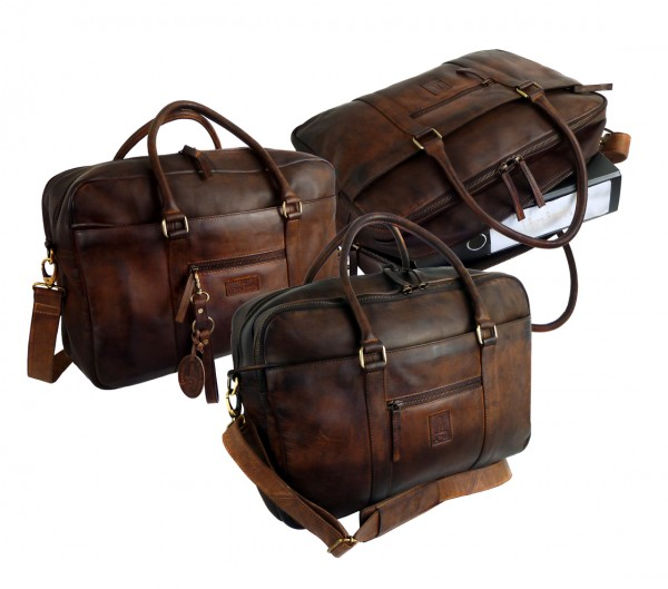 2 tlg. XXL Businessbag / Akten, Laptop und Ordnermappe *SHADOW* 25-braun/brown